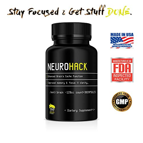 NeuroHack Nootropic (30ct) Memory Booster Supplement for Memory, Focus and Clarity with Ginkgo Biloba, St. John's Wort and Bacopa Monnieri | Made for Professionals |