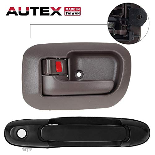 (AUTEX Door Handles 2pcs/Set Black Exterior Brown Interior Front Left Driver Side Compatible with Toyota Sienna 1998 1999 2000 2001 2002 2003 6922008010A0 80533 80850)