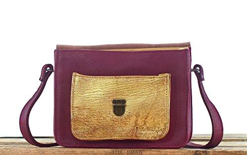 MADEMOISELLE GEORGE Pflaume / Gold Büffelleder Handtasche PAUL MARIUS
