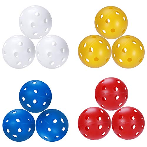 Sprookber Wiffle Plastic Golf Training Balls for Swing Practice, Driving Range, Home Use - 5 inch Circumference (Mixed - 12 Pack)