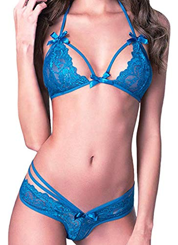 Sexy Lace Lingerie Set Babydoll Nightwear Underwear Sleepwear (Blue),One Size