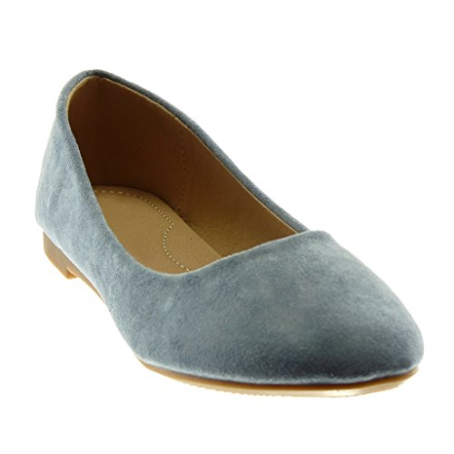 Angkorly Damen Schuhe Ballerina - Slip-On Blockabsatz 1.5 cm Blau