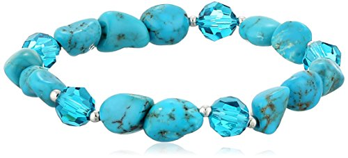Sterling Silver Beads Chinese Stabilized Turquoise Nugget and Blue Swarovski Elements Stretch Bracelet, 7.5