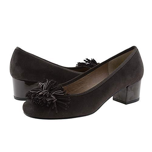 Marron en Embellissement Talons avec Verni Chaussures Cuir à Daim et zCxnqAw1