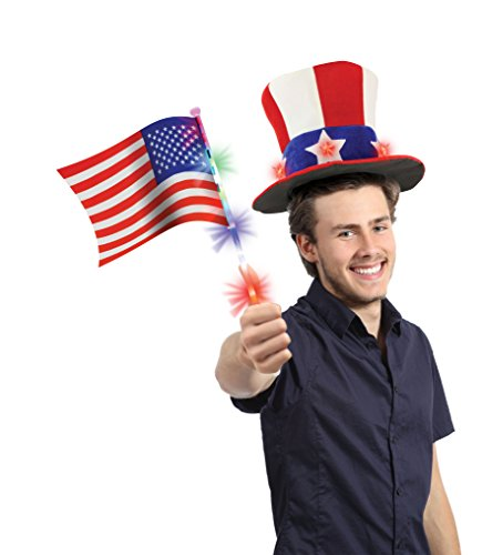 Kovot LED Flashing Patriotic Hat and Flag Set - 1 Blinking Hat and 1 Flashing Flag Included | July 4th Party Supplies | July 4th Decorations ()