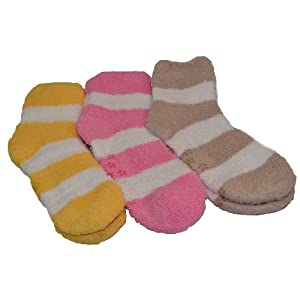 Warm Fuzzy Winter Sleep Socks 3 Pairs (NonSlip4, 09-11)