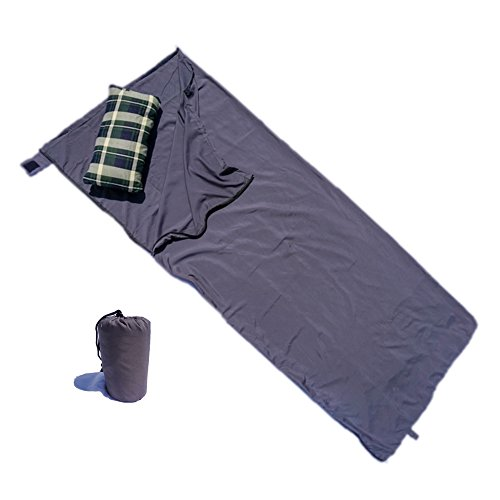 Formosa Covers Roomy Sleeping Bag Liner with Full Two-Way Zipper - Silky Smooth - Use as Lightweight Sleep Bag or Travel Sheet Set - Rectangle Poly in Grey 33