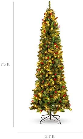 Best Choice Products 7.5ft Pre-Lit Spruce Pencil Christmas Tree Pre-Decorated for Home, Office, Party, Holiday Decoration w/ 1,075 Tips, 350 Lights, Pine Cones, Metal Hinges & Base - Green