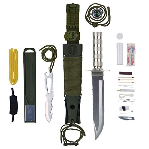 Knife Jungle - Maxam 12-Piece Survival Knife Set with Zinc Alloy Handles, Ideal for Survivalists, Hunters, Hikers, and Outdoor Sports Enthusiasts