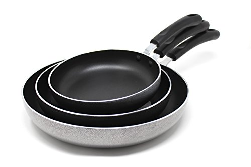 CONCORD 3 Piece Non Stick Omelet Frying Pan Set. Heavy Grade Cookware, PFOA FREE
