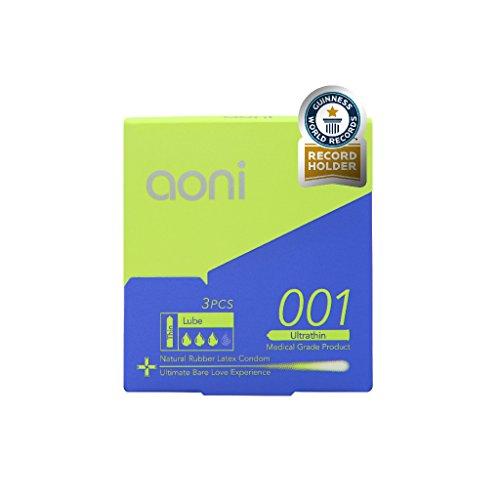 Condón de látex más delgado Aoni condones - 001 ultrafino - mundo por Guinness mundial Records| 3pcs