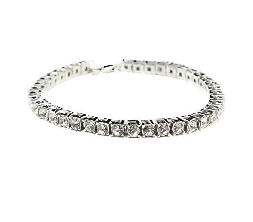 MCSAYS Fashion Jewelry Single One Row Rhinestone CZ Crystal Tennis Chain Bracelet Hip Hop Men's Bling Bling Iced out (Silver)