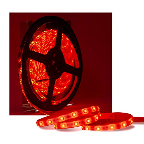 XINKAITE led Strip Lights Waterproof 16.4ft Led Tape Lights 300leds Flexible LED String Light for Boats, Bathroom, and Outdoor Use, Red, Power Supply not Included