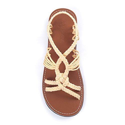 Plaka Flat Summer Sandals for Women Sweet Ivory Size 8 Peacock