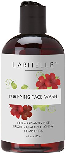 Laritelle Organic Face Wash-Purifying, Moisturizing and Skin Softening, Hibiscus, Chamomile and Palmarosa, No Sulfates, Gluten, Alcohol, Parabens, Phthalates, GMO-Fre, Mild and Gentle, 5.5 pH, 4 oz