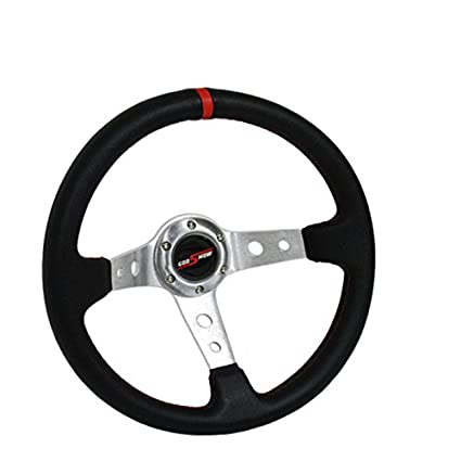 350mm Deep Dish Steering Wheel 6 Bolt Universal Custom Chrome Red