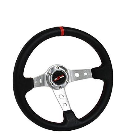 350mm Deep Dish Steering Wheel 6 Bolt Universal Custom (Chrome Red) Morakot Racing 350-DEEPDISH-008
