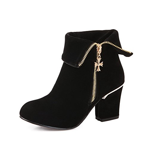 Women's Round Closed Toe Low top High-Heels Solid Imitated Suede Boots