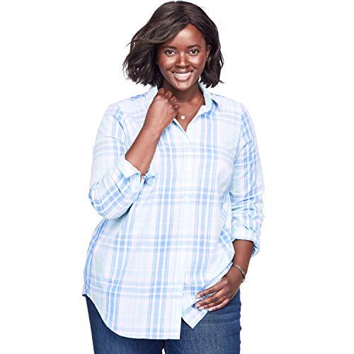 (Woman Within Women's Plus Size Perfect Button Down Shirt - French Blue Plaid (Yarn-Dye),)