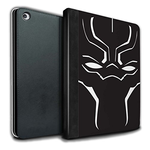 STUFF4 PU Leather Book/Cover Case for Apple iPad Air 2 Tablets/Face Mask Design/Black Panther Inspired Collection