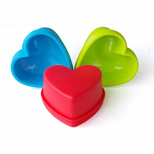Mirenlife Large Size Reusable Non-stick Silicone Baking Cups / Cupcake Liners / Muffin Cup Molds in Storage Container - 12 Pack - 3 Vibrant Colors (Heart) (Large Chocolate Heart Box Mold compare prices)