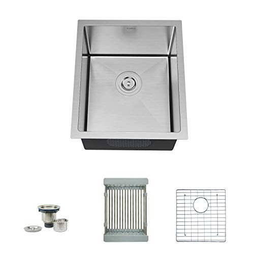 Great Features Of TORVA 15 Undermount Stainless Steel Kitchen Sink 16 Gauge, Single Bowl Kitchen Si...