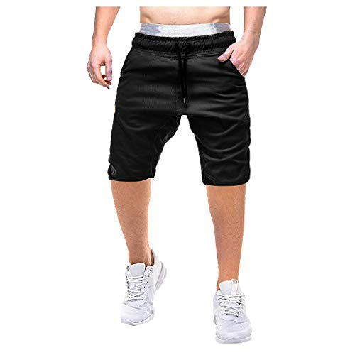 AHAYAKU Fashion Men's Csual Pure Color Pocket Overalls Wind Overalls Shorts Black