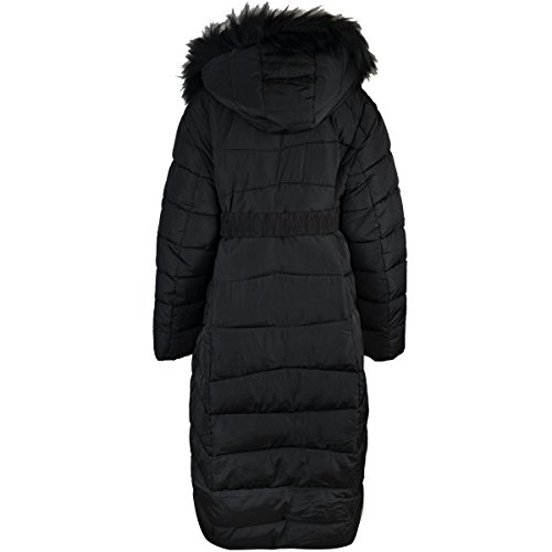 Fashion Thirsty New Womens Plus Size Long Quilted Padded Winter Coat Fur Trim Hood (US 16, Black) by Fashion Thirsty (Image #1)