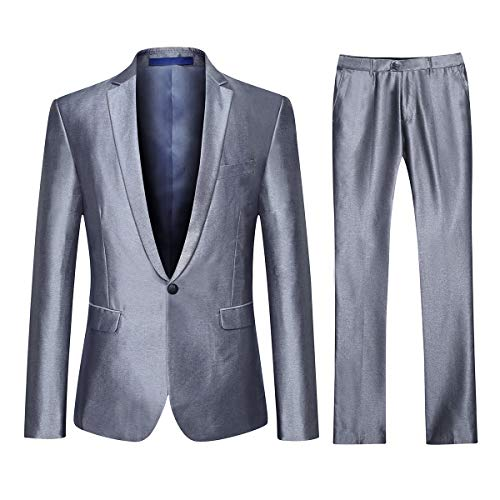 YFFUSHI Mens One Button Formal 2 Piece Suits Slim Fit Multi-Color Wedding Tuxedo Sliver