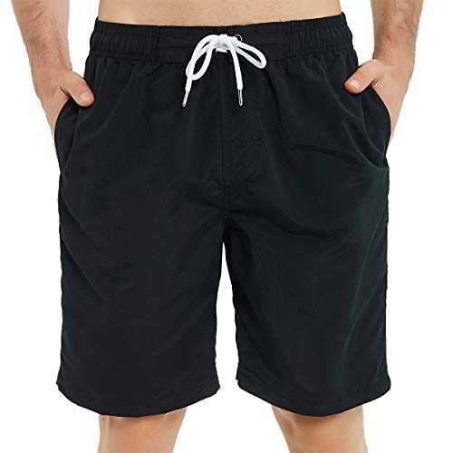 Kailua Surf Mens Swim Trunks Long, Quick Dry Mens Boardshorts, 9 Inches Inseam Mens Bathing Suits with Mesh Lining (Small, Black)