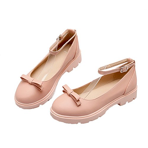 Odomolor Women's Solid PU Low-Heels Buckle Round-Toe Pumps-Shoes, Pink, 38