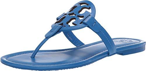 Tory Burch Miller Flip Flop Leather Thong Sandal Logo (7.5, Bright Tropical Blue) - Logo Flat Thong Sandal
