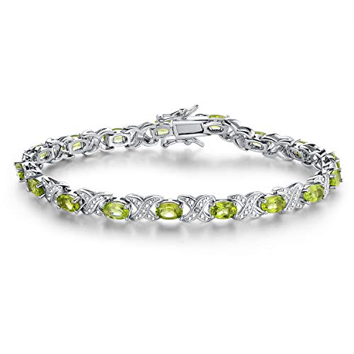 (Barzel Gold, White Gold Plated or Rose Gold Plated Created-Gemstones Tennis Bracelet (Rhodium-Plated-Brass, Created Peridot))