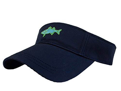 Saltwater Long Island Salty Visor with Embroidered Striped Bass Fish Logo ()