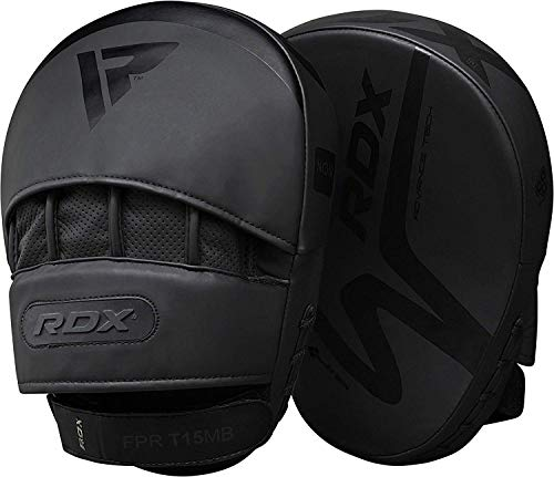 Focus Boxing Mitts - RDX Boxing Pads Curved MMA Focus Mitts Muay Thai Training | Matte Black Convex Skin Leather with Adjustable Strap | Martial Arts Hook and Jab Punching Target Hand Shield