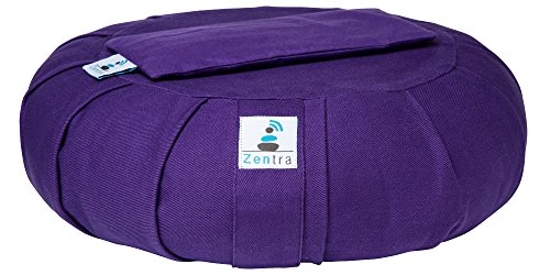 Zentra Zafu Yoga MEDITATION CUSHION with BONUS EYE PILLOW - 100% Natural Cotton - Designed for Quality, Comfort, and Durability - Satisfaction Guaranteed (Purple)
