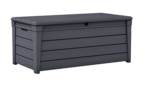 Keter Brightwood 120 Gallon Outdoor Garden Patio Storage Furniture Deck Box, Anthracite (Patio Container Storage Cushion)