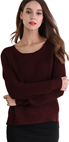 Women's Fashion Casual Long Sleeve Crew Neck Knit Sweater Pullover Crop Top (L)