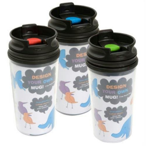 (Pack of 3) Design Your Own Travel Mugs with Sealed Lids -