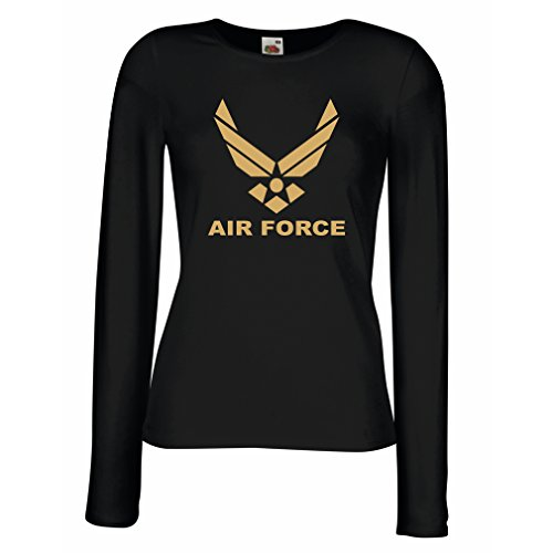 T Shirt Women United States Air Force (USAF) - U. S. Army, USA Armed Forces (Large Black Gold)