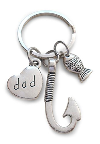 Little Fish Charm - Dad Fish Hook Keychain with Little Fish Charm - Hooked on You Dad; Father's Keychain