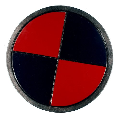 Round Warrior Shield, black and red latex with leather arm straps, LARP (Medieval Foam Larp Shield)
