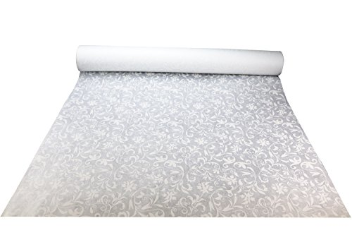 Excellent Designs White Wedding Aisle Runner – 100% Polyester – Charming Floral Print – Ideal for Indoor & Outdoor – 3 x 100 Feet Long Roll with Pull Cord & Adhesive Tape – 50GSM Thick & Durable by Excellent Designs