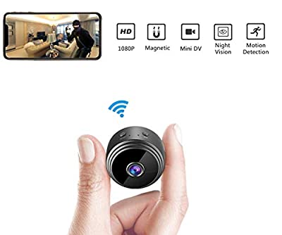 Mini Hidden Spy Camera Wireless HD 1080P Indoor Home Small Spy Cam Security Cameras/Nanny Cam Built-in Battery with Motion Detection/Night Vision for iPhone/Android Phone/iPad/PC