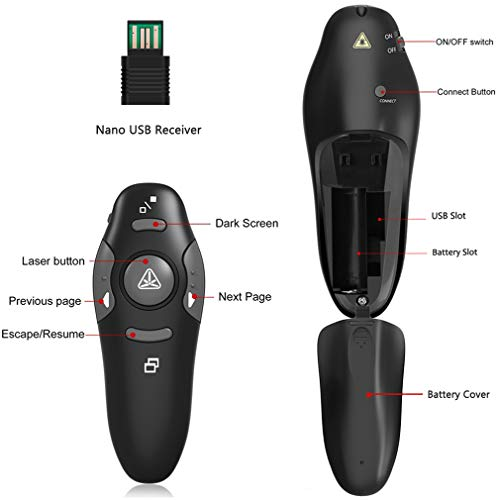Wireless Presenter, YINXN RF 2.4GHz USB Remote Controlled PowerPoint PPT Clicker Presentation Laser Pointer by YINXN (Image #2)