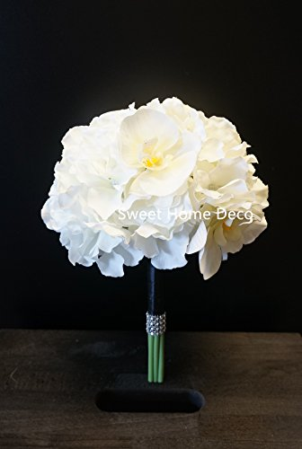 Sweet Home Deco Gel Coated Real Touch Phanaenopsis Orchid Hydrangea Diamond Wedding Bouquet Package Bridal Bouquet Bridesmaid Bouquet Boutonniere (White/Black-Bridesmaid Bouquet)