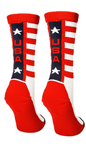 MadSportsStuff USA Pride Athletic Crew Socks (White/Red/Navy, Medium) from MadSportsStuff
