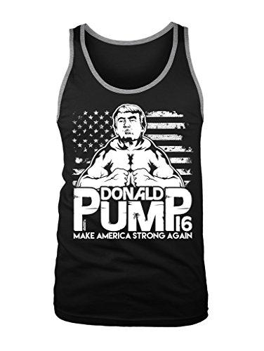 LOGOPOP Men's Donald Pump Make America Strong Again Tank Top, M, Black/Heather