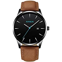Men's Analog Fashion Quartz Watch Business Watches Mens Sport Waterproof Wrist Watch for Men with Leather Strap Calendar Date Brown