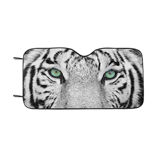 (INTERESTPRINT White Tiger Front Windshield Sun Shades, Accordion Folding Auto Sunshades for Car Truck SUV)